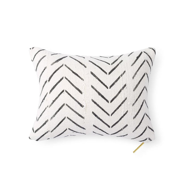 Ecru Mud Cloth XXI - Lumbar Pillow
