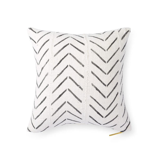 Ecru Mud Cloth XXI - Throw Pillow