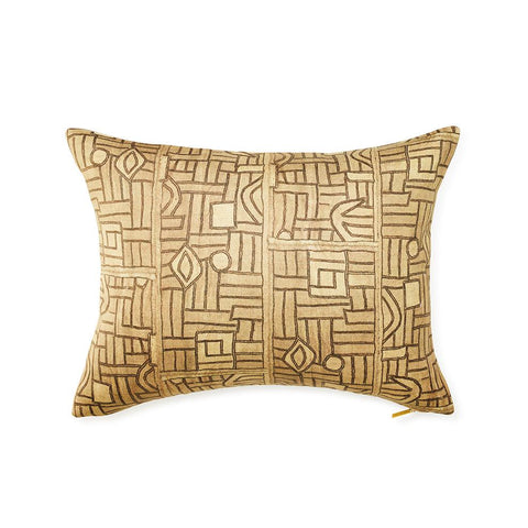 Golden Maze Kuba Cloth - Standard Pillow