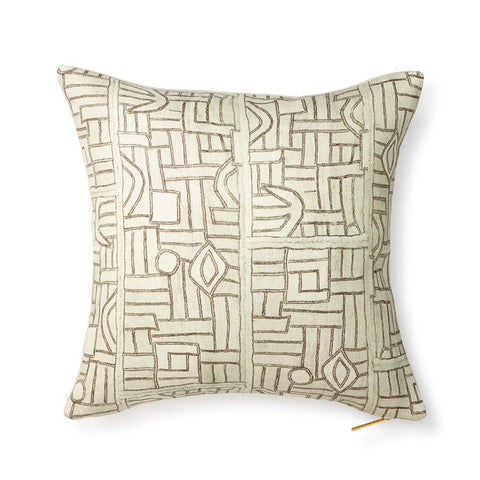 Ecru Maze Kuba Cloth - Throw Pillow