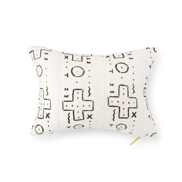 Ecru Mud Cloth XXIII - Lumbar Pillow Pillow Mali
