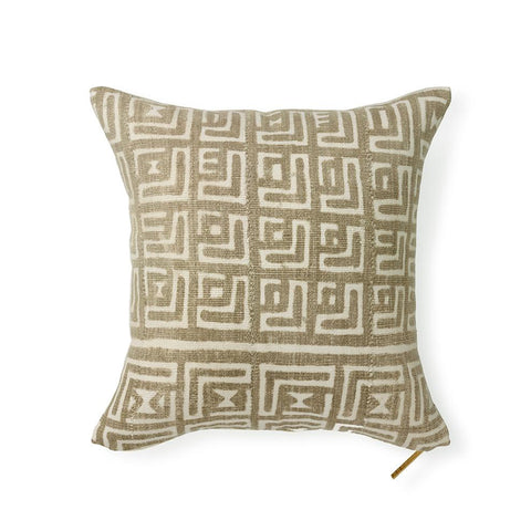 Neutral Mud Cloth XX - Throw Pillow