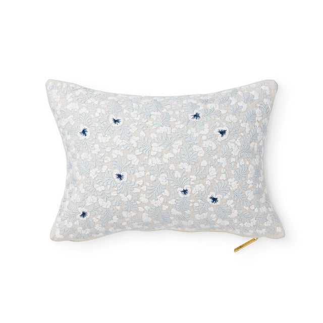 "Soft Blue Oaxacan Embroidery - 16"" x 12"" Lumbar Pillow Mexico"