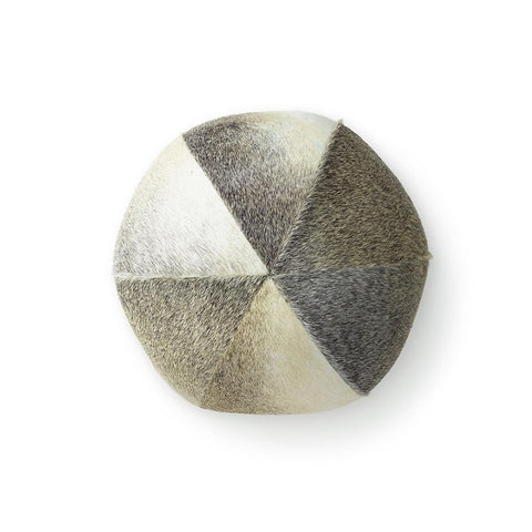 Salt + Pepper Cowhide - Ball Pillow 12""