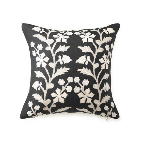 Black Tree of Life Suzani - Throw Pillow
