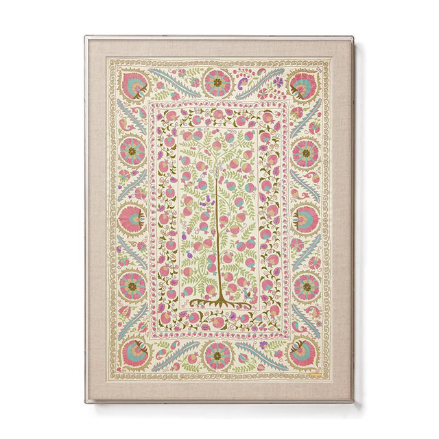 Pink Pomegranate Suzani - Sublime Framed Textile