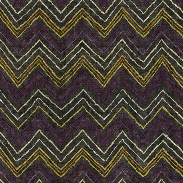 Plum Chevron Kuba Cloth - Wallpaper Yardage St. Frank