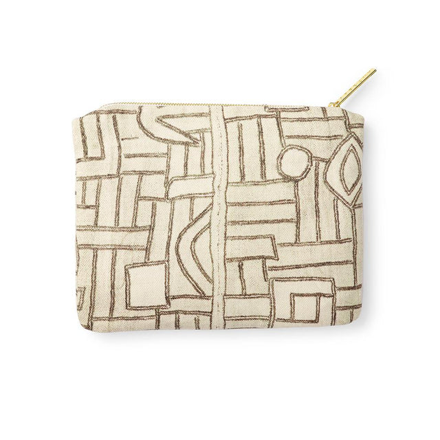 Ecru Maze Kuba Cloth - Zip Pouch Travel Accessories St. Frank