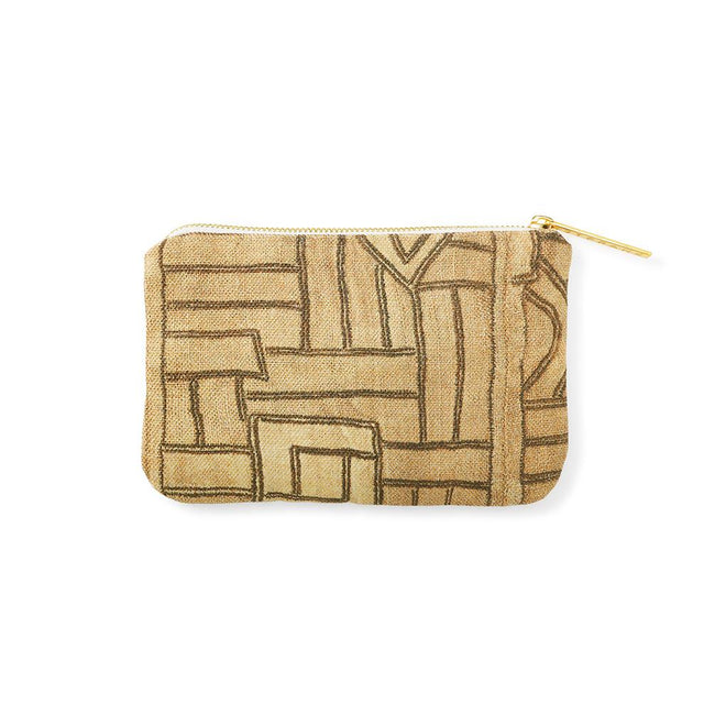 Golden Maze Kuba Cloth - Catchall Travel Accessories St. Frank