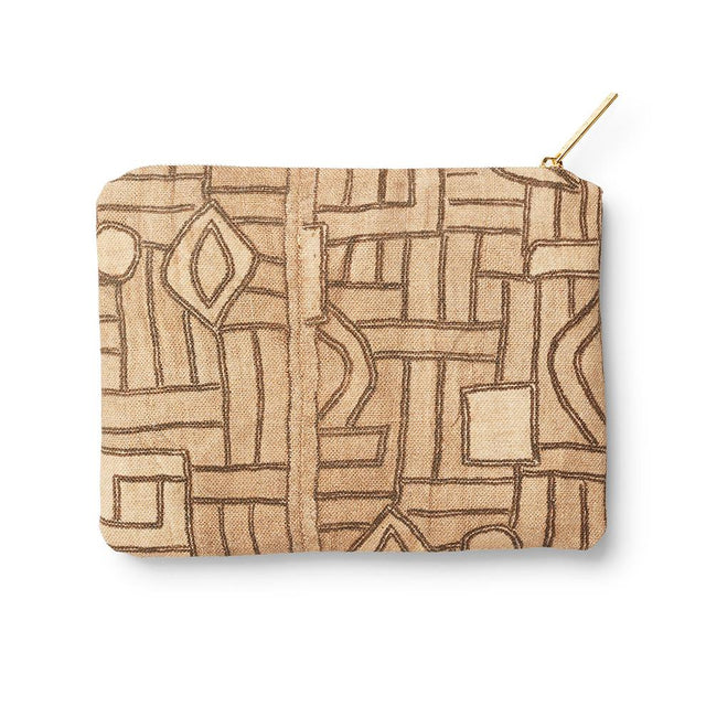 Golden Maze Kuba Cloth - Zip Pouch