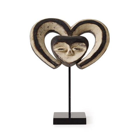 Heartshaped Kwele Mask - Art Object