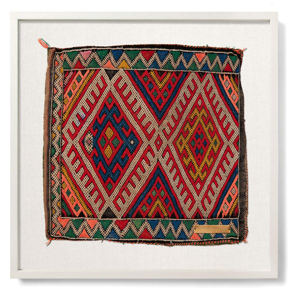 St. Frank Vintage Red Khenifira Textile from Morocco in White Frame