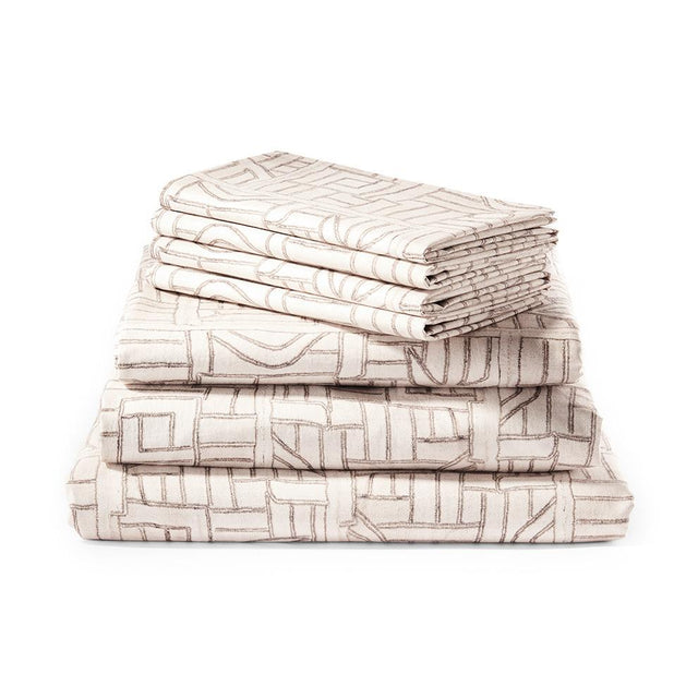 Ecru Maze Kuba Cloth - Sheet Set Bedding Portugal