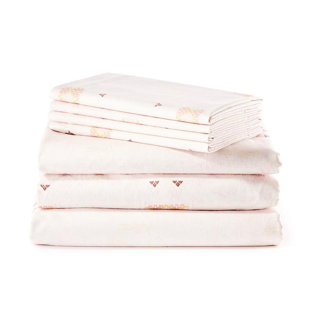 Blush Cactus Silk - Sheet Set Bedding Portugal Standard/Queen