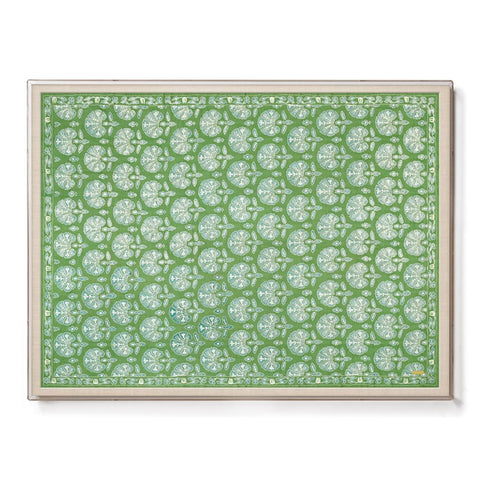 Silk Green Floral Suzani - Sublime Framed Textile