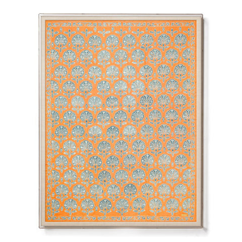 Silk Orange Floral Suzani - Sublime Framed Textile