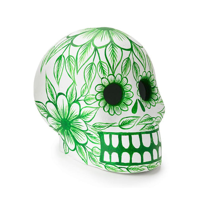 Green Day of the Dead Skull - Art Object Curiosities Mexico