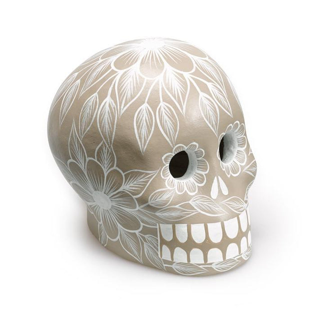 Grey Day of the Dead Skull - Art Object Curiosities Mexico