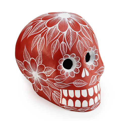 Red Clay Day of the Dead Skull - Art Object