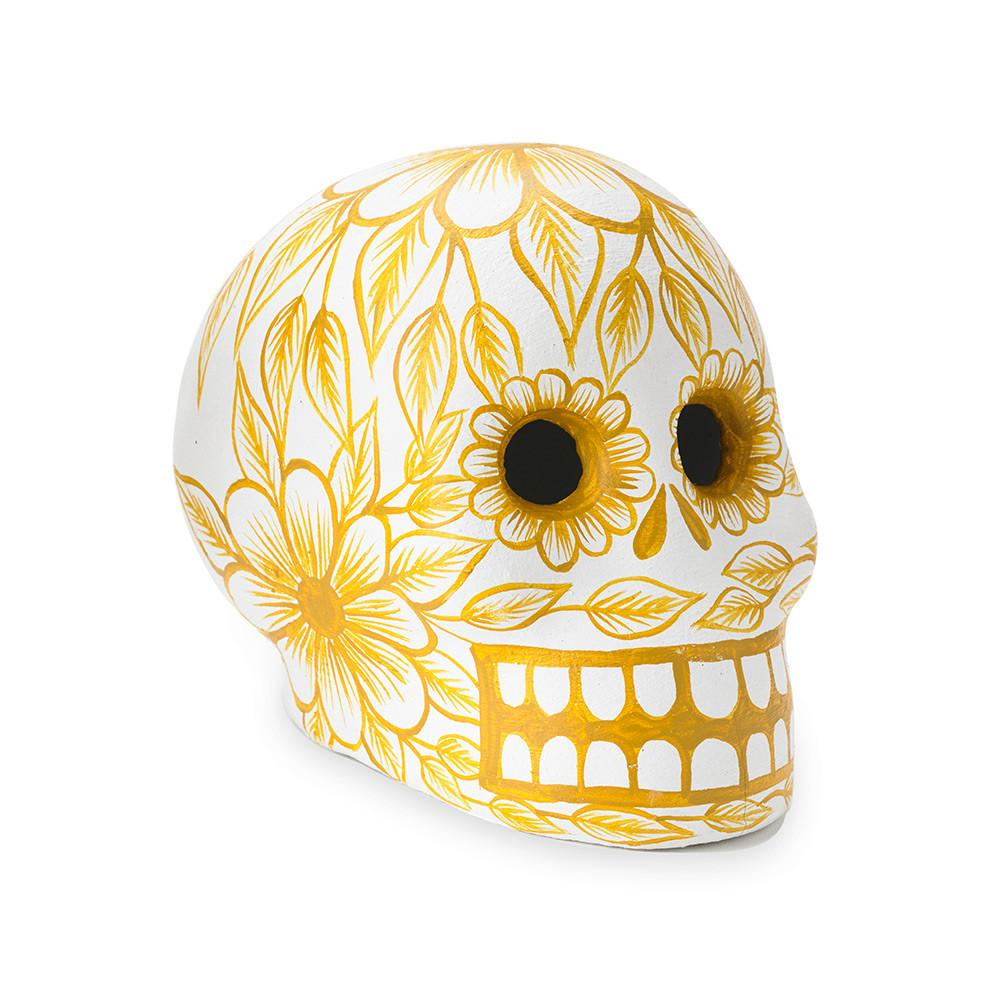 f917673a49527 St. Frank | Yellow Day of the Dead Skull - Art Object