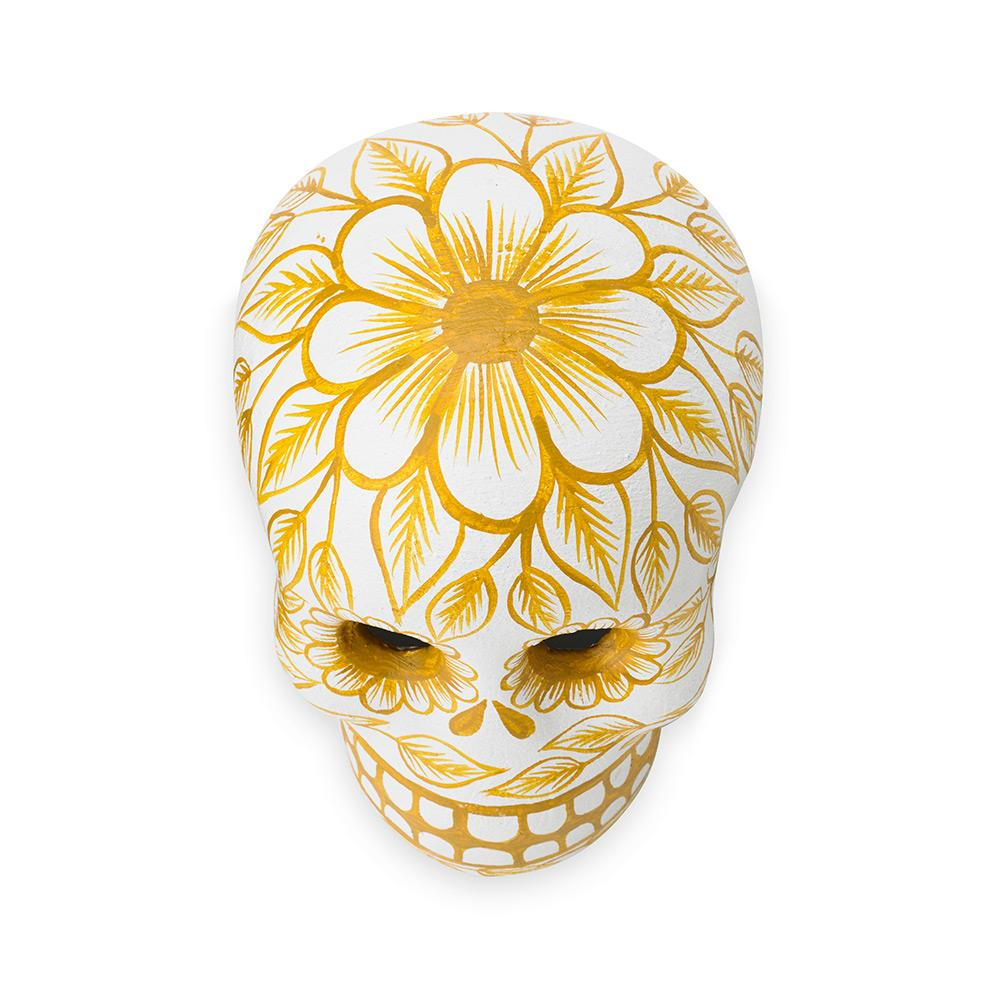 St. Frank   Yellow Day of the Dead Skull - Art Object
