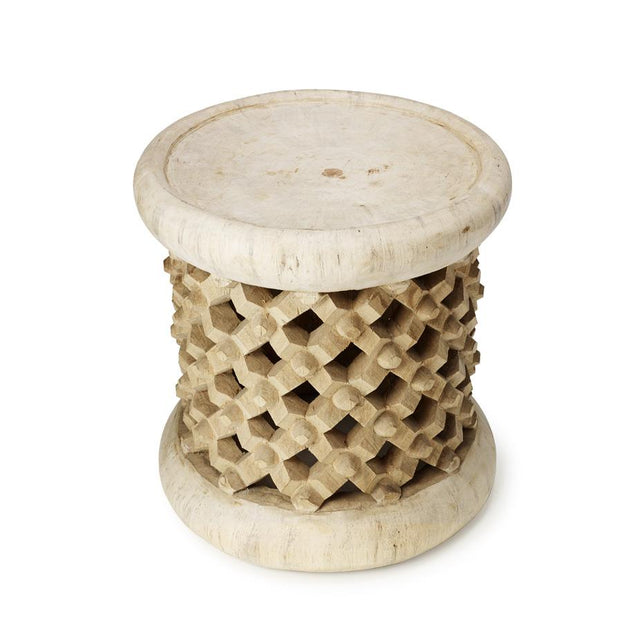 Natural Bamileke Stool - Accent Table