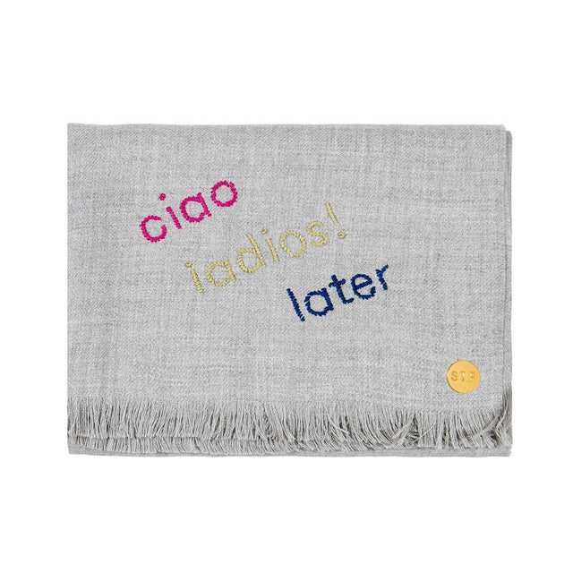 """Ciao, Adios, Later"" Embroidered Baby Alpaca Throw - Blanket"