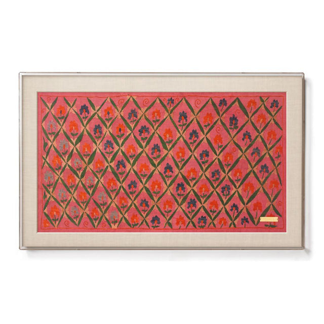 Pink Trellised Suzani - Sublime Framed Textile