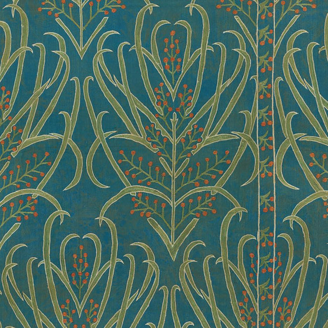 Teal Vines Suzani - Wallpaper Yardage St. Frank