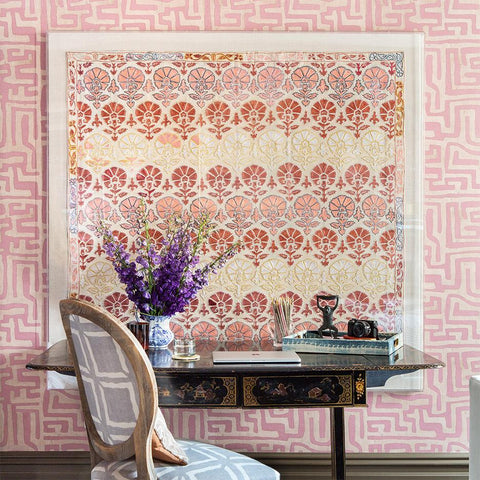 Terracotta Classic Kuba Cloth - Wallpaper