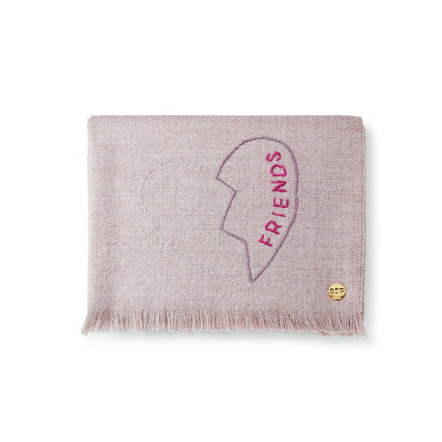 """...Friends"" Embroidered Baby Alpaca Throw - Blanket"