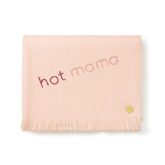 """Hot Mama"" Embroidered Baby Alpaca Throw - Blanket"