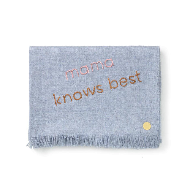 """Mama Knows Best"" Embroidered Baby Alpaca Throw - Blanket"