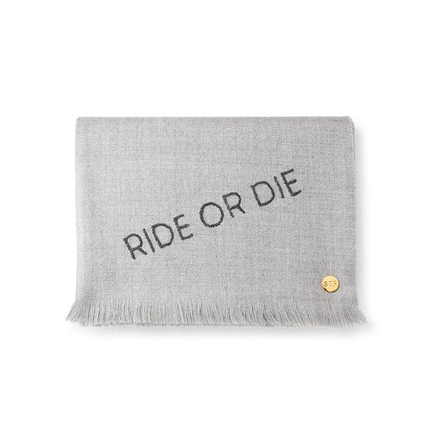 """Ride or Die"" Embroidered Baby Alpaca Throw - Blanket"