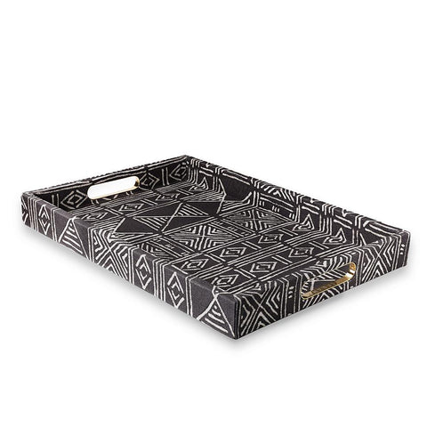 Charcoal Classic Mud Cloth - Large Tray