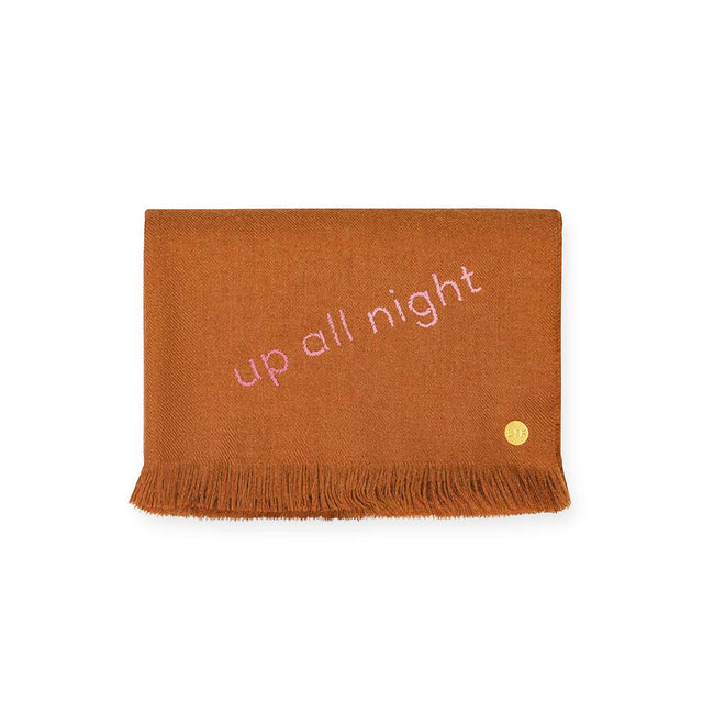 """Up All Night"" Embroidered Baby Alpaca Throw - Blanket"