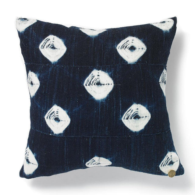 Vintage Indigo Throw Pillow with Dyed Textile from Mali