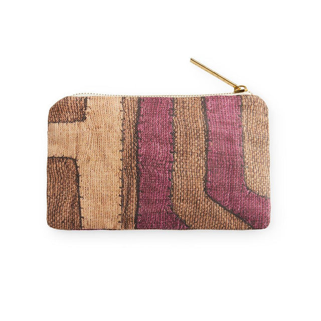Plum Patchwork Kuba Cloth - Small Zip Pouch Default Oak Ridge Sample Company