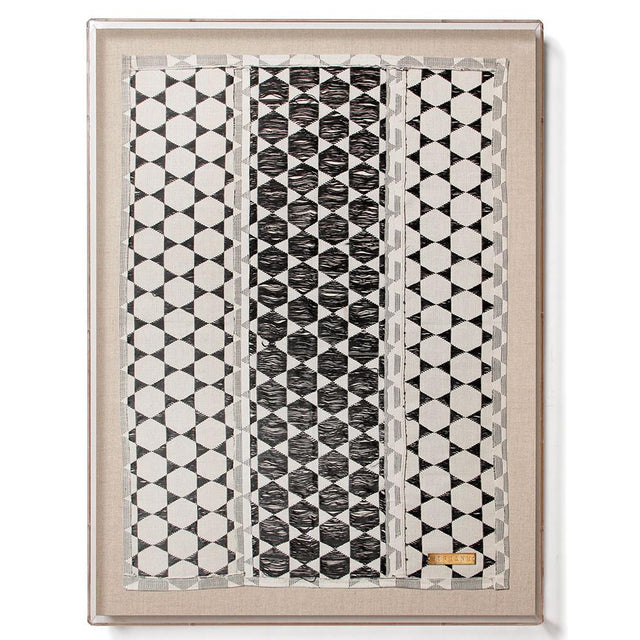 Modern Black and White Biddew Noir Statement Textile from Senegal with Acrylic Shadowbox Frame