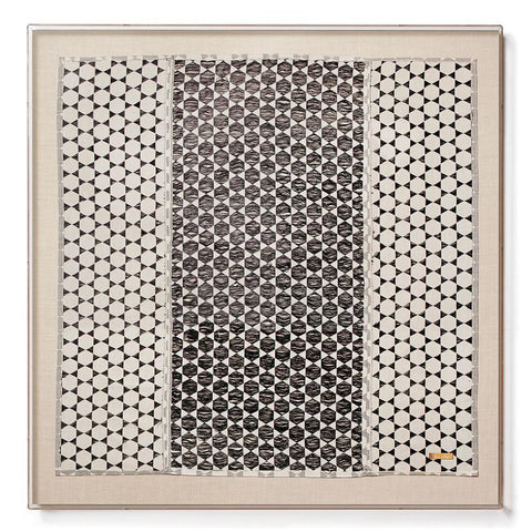 Modern Black and White Biddew Noir Sublime Large Scale Textile from Senegal with Acrylic Shadowbox Frame