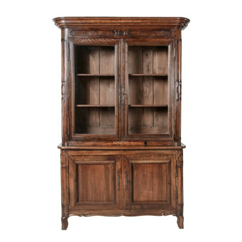 18th Century French Hand Carved Walnut Bibliotheque Bookcase
