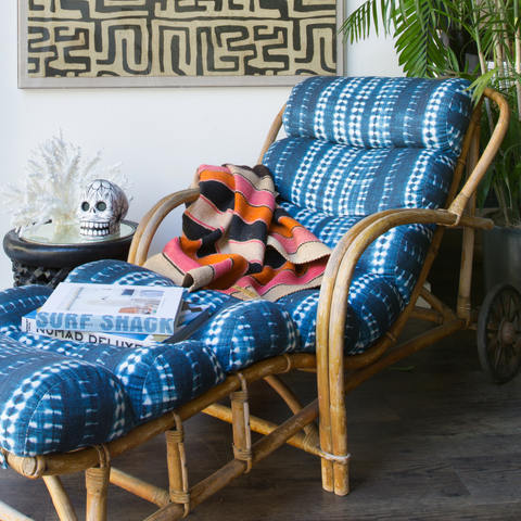 Dark Vines Indigo Rattan Lounger