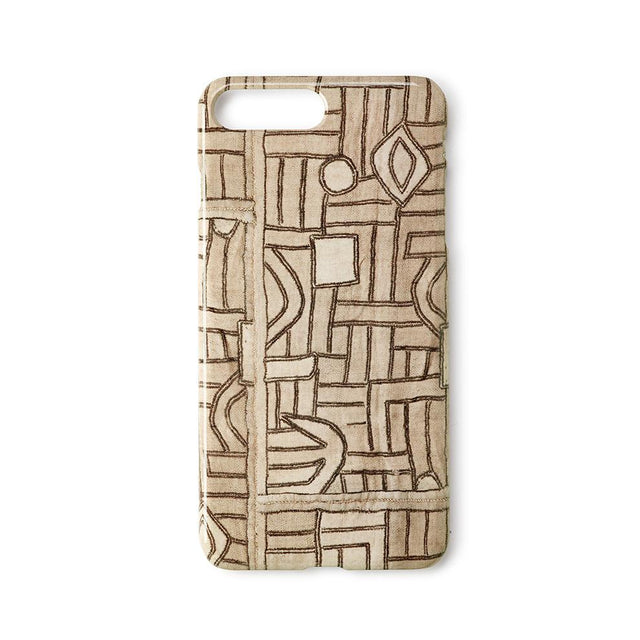 Ecru Maze Kuba Cloth - iPhone 8 Plus Case Travel Accessories St. Frank