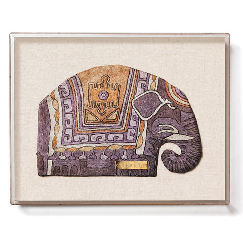 St. Frank Vintage Framed Elephant Teakettle Covering from Uzbekistan in Acrylic Shadowbox Frame