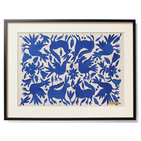 Blue Tenango Statement Textile with Acrylic Shadowbox Frame