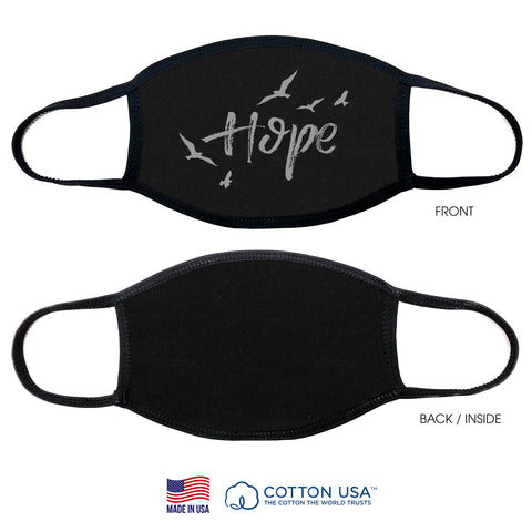 100% COTTON MADE IN THE USA HOPE WITH BIRD BLACK FABRIC FACE MASK