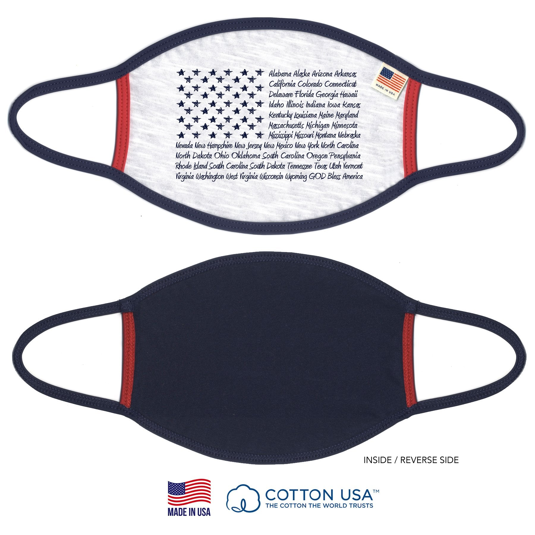 PATRIOTIC GOD BLESS AMERICA 100% COTTON FACE MASK