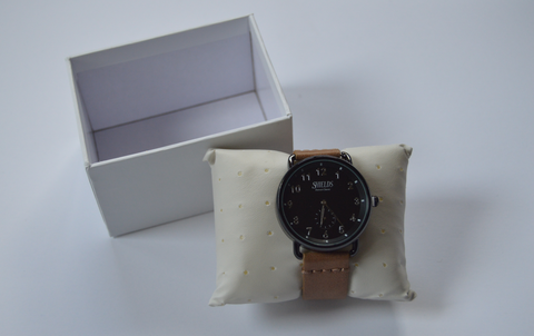 Detroit Classic Watch w/ Brown PU Leather Strap