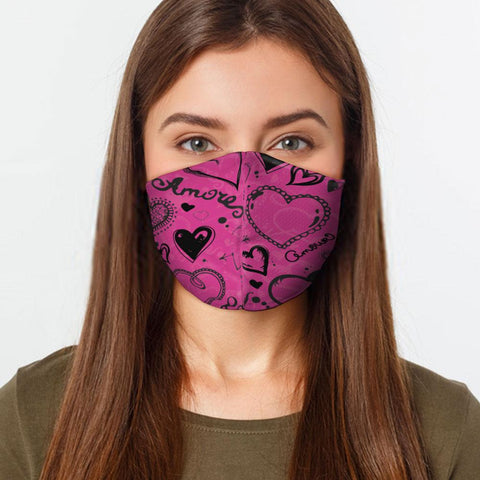 Pink Love Hearts Face Cover