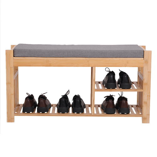 Bamboo Shoe Stool With Cushion, Three-Layer Entrance Bench With Shoe Rack, Shoe Stool With Storage Rack In Bedroom And Bathroom 37.8in